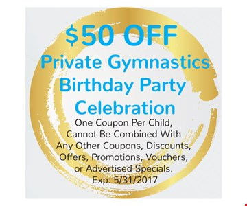 $50 Off Private Gymnastics Birthday Party Celebration