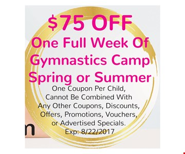 $75 Off One Full Week of Gymnastics Camp Spring or Summer