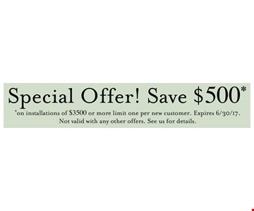 Save $500 on installations