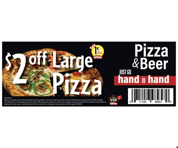 $2 off large pizza