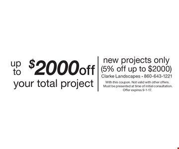 Up to $2000 off your total project. New projects only (5% off up to $2000). With this coupon. Not valid with other offers. Must be presented at time of initial consultation. Offer expires 9-1-17.