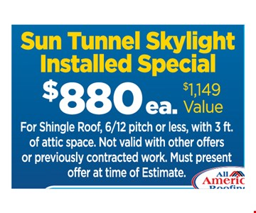 $880 sun tunnel skylight installed