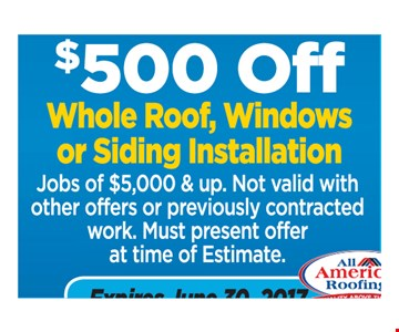 $500 off whole roof