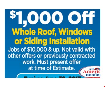 $1000 off whole roof