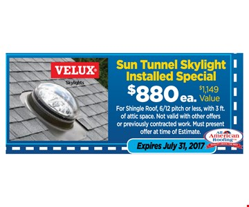 Sun tunnel skylight installed $880