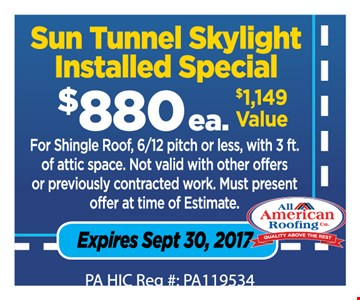 Sun tunnel skylight installed $880 ea.