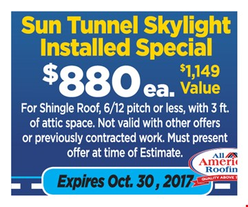 Sun Tunnel Skylight Installed Special $880