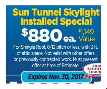 $880 Velux sun tunnel skylight installed special