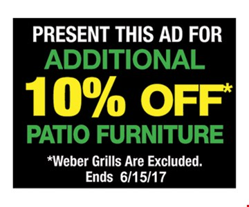 Additional 10% Off Patio Furniture