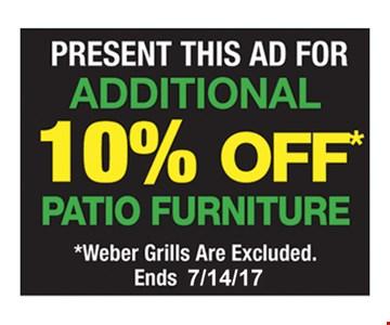 10% off patio furniture