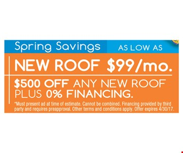 $500 Off Any New Roof Plus, 0% Financing