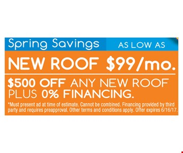 $500 Off Any New Roof PLUS 0% Financing