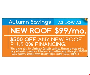 New Roof $99/mo $500 OFF any new Roof plus 0% Financing