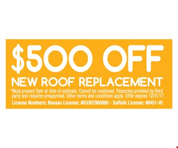 $500 off new roof replacement