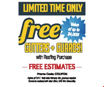 Free Gutters & Guards w/ Roofing Purchase