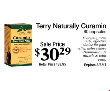 Sale Price $30.29 Terry Naturally Curamin 60 capsules stop pain now. safe, effective choice for pain relief. helps relieve inflammation & muscle & joint pain.  Expires 3/6/17