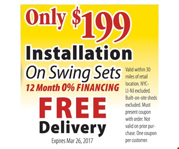 $199 Installation on Swing Sets