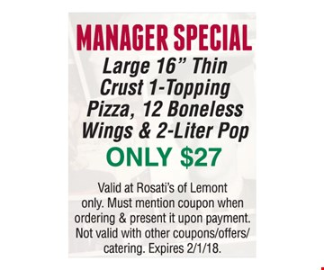 Manager's Special Only $27