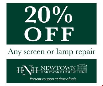 20% OFF Any screen or lamp repair