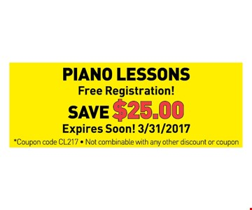 Piano lessons save $25