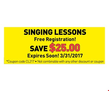 save $25 on singing lessons