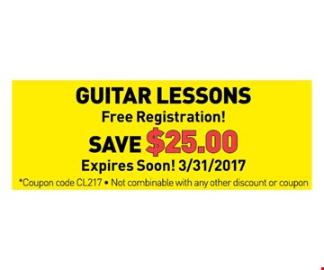 save $25 on guitar lessons