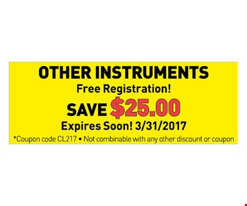 save $25 on other instruments
