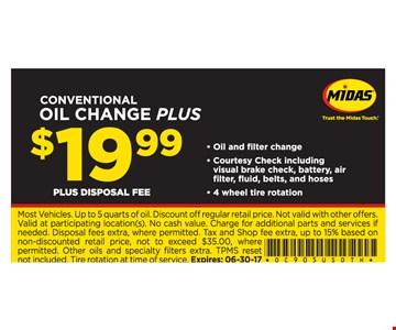 Conventional Oil Change Plus $19.99