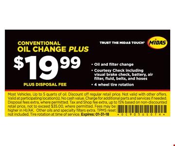 $19.99 Conventional Oil Change Plus
