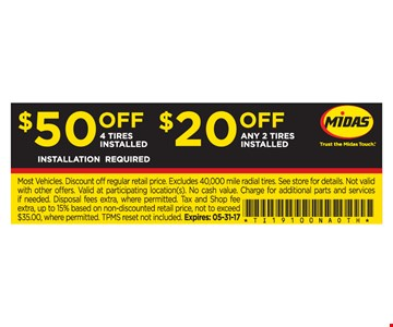 $50 Off 4 Installed Tires