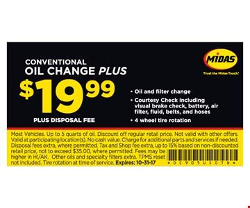 Oil Change Plus $19.99