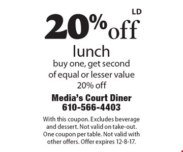 20% off lunch buy one, get second of equal or lesser value 20% off. With this coupon. Excludes beverage and dessert. Not valid on take-out. One coupon per table. Not valid with other offers. Offer expires 12-8-17.