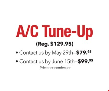 A/C Tune-Up $79.95 by May 29th or $99.95 by June 15th