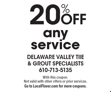 20% off any service. With this coupon. Not valid with other offers or prior services. Go to LocalFlavor.com for more coupons.