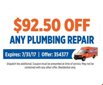 $92.50 Off Any Plumbing Repair