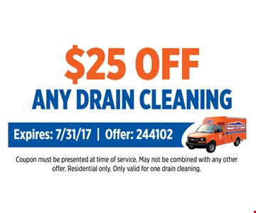 $25 off any drain cleaning