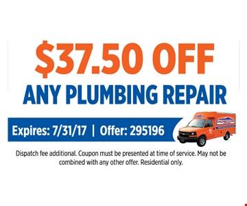 $37.50 off any plumbing repair