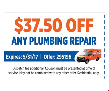 $37.50 OFF any Plumbing repair