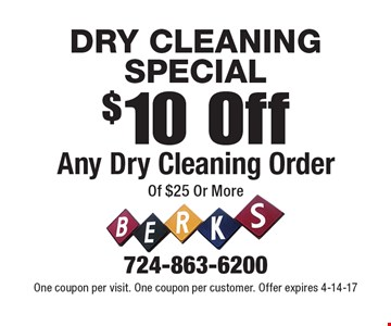 DRY CLEANING SPECIAL $10 Off Any Dry Cleaning Order Of $25 Or More. One coupon per visit. One coupon per customer. Offer expires 4-14-17