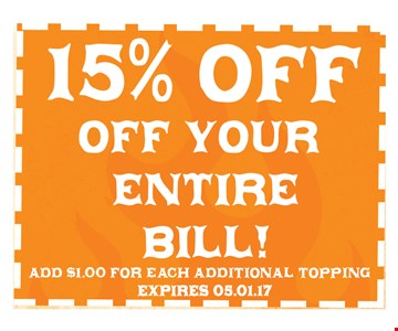 15% off your entire bill