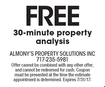 Free 30-minute property analysis. Offer cannot be combined with any other offer, and cannot be redeemed for cash. Coupon must be presented at the time the estimate appointment is determined. Expires 7/31/17.