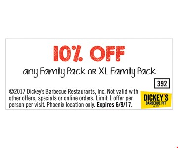 10% off any family pack or XL family pack