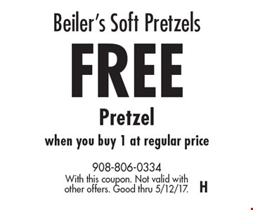 Beiler's Soft Pretzels FREE Pretzel when you buy 1 at regular price. With this coupon. Not valid with other offers. Good thru 5/12/17.H