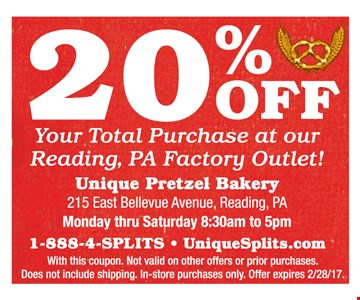 20% off your total purchase at our Reading, Pa outlet
