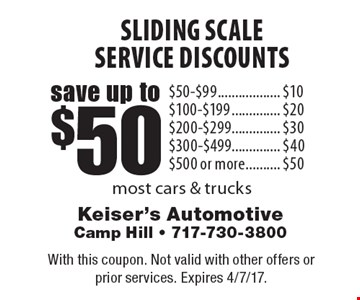 Sliding Scale Service Discounts Save Up To $50. $50-$99 save $10. $100-$199 save $20. $200-$299 save $30. $300-$499 save $40. $500 or more save $50. Most cars & trucks. With this coupon. Not valid with other offers or prior services. Expires 4/7/17.