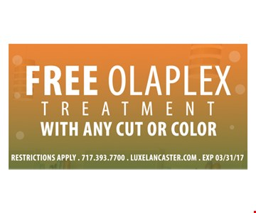 Free Olaplex treatment with cut or color