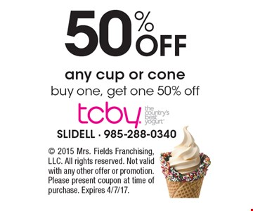 50% Off any cup or cone. Buy one, get one 50% off. 2015 Mrs. Fields Franchising, LLC. All rights reserved. Not valid with any other offer or promotion. Please present coupon at time of purchase. Expires 4/7/17.