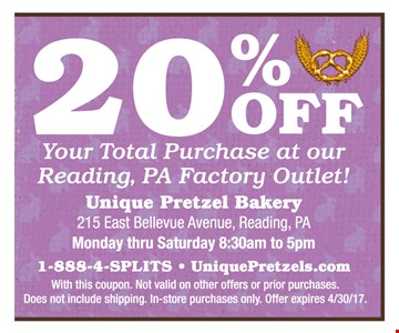 20% OFF your total purchase at our reading, PA factory outlet ! with this coupon. Not valid on other offers or prior purchases. Does not include shipping. In-store purchases only