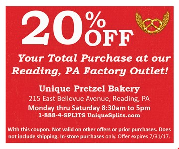 20% off your total puchase at our Reading, PA Factory Outlet