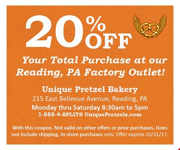 20% OFF your total purchase at our reading , PA Factory  outket !